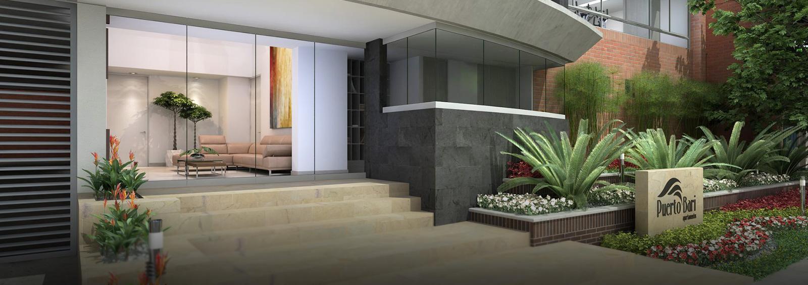 Elegante acceso con hermoso lobby en doble altura